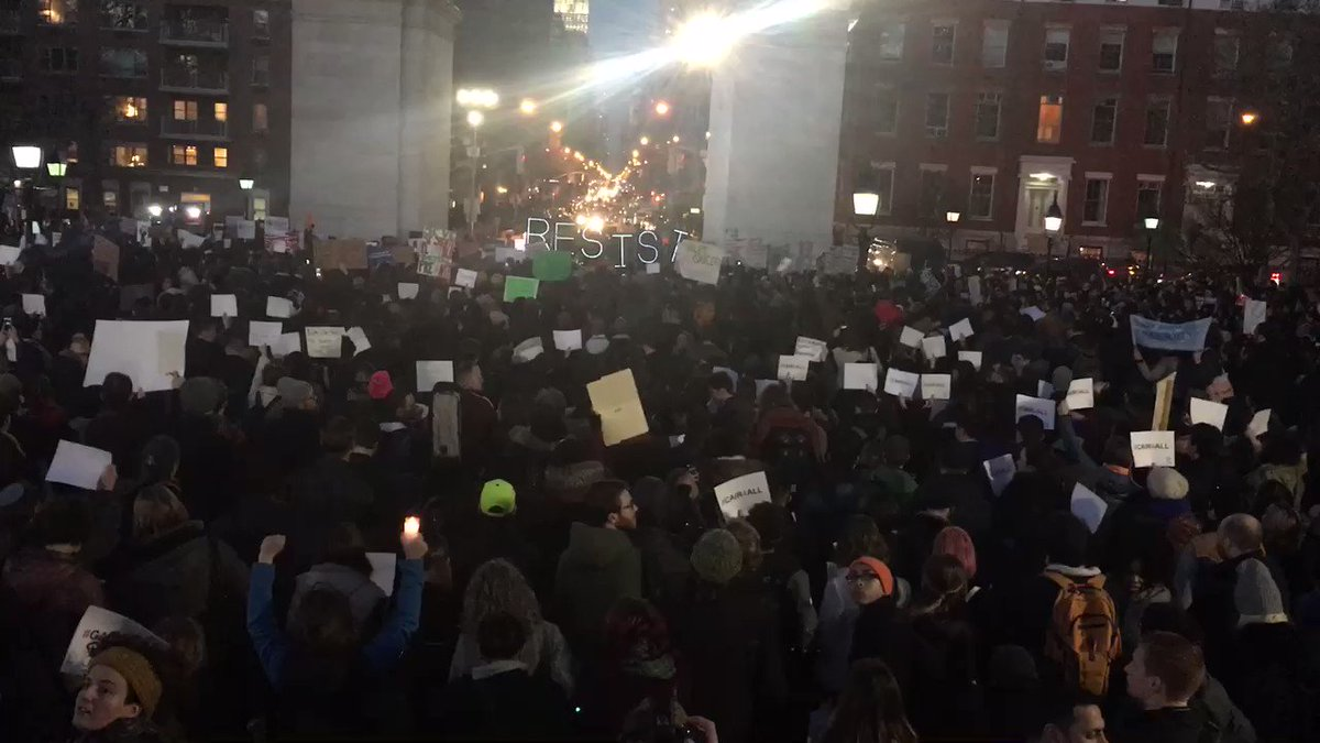 Protesters Flood NYC's Washington Square Park To Oppose Muslim Ban