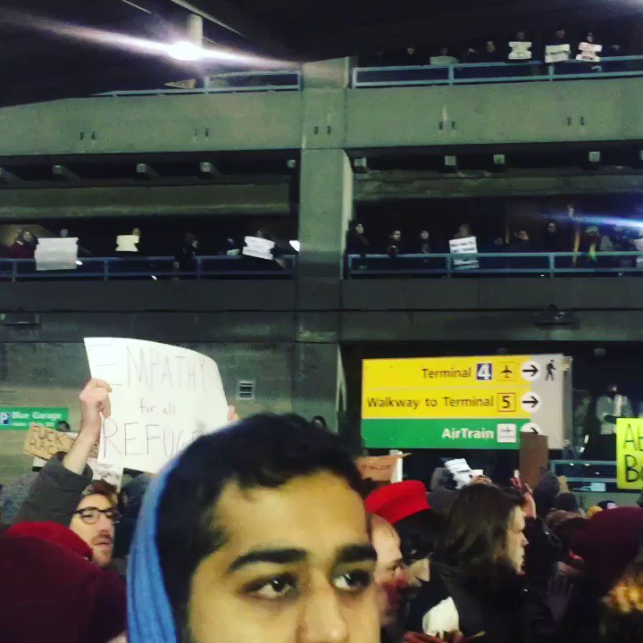 """The scene at JFK right now: """"No hate, no fear; Muslims are welcome here!"""" https://t.co/d5LuG0Yxll"""