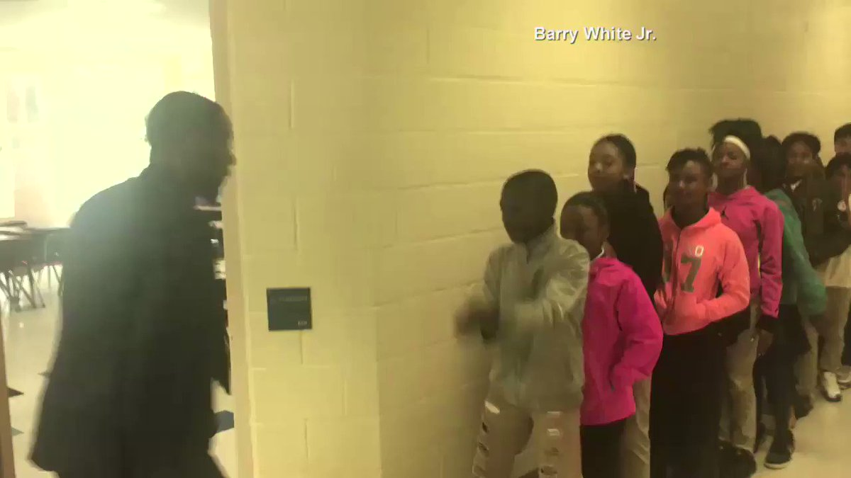 Barry White Jr, a 5th grade English teacher in NC, has a special handshake for each one of his students: