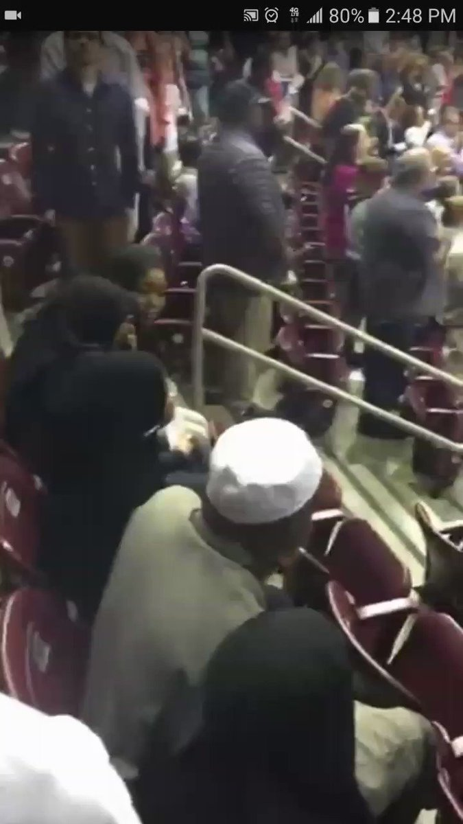 💥WATCH💥This Mus1!m Family refused to stand for National Anthem🇺🇸 Behavior like this truly disgusts me🤬  👉If Mus1!ms hate America so much then why are they here?  👉Because they're NOT in America to integrate - only to dominate!  RETWEET👉If You Agree