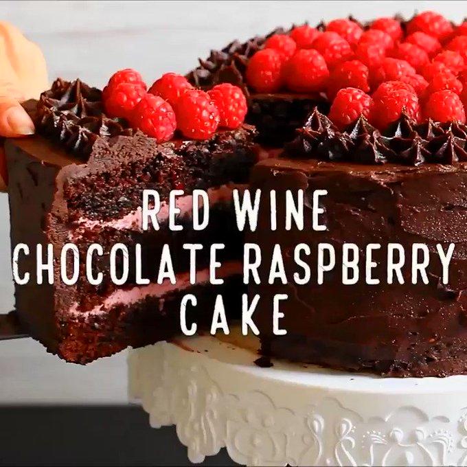 Luxury Red Wine Chocolate Raspberry Cake