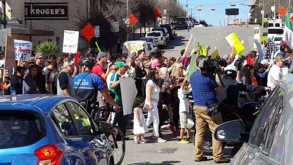 Protests happening in Austin right now. #immigrantstrike #ImmigrantsMakeAmericaGreat https://t.co/eingA6KK1T