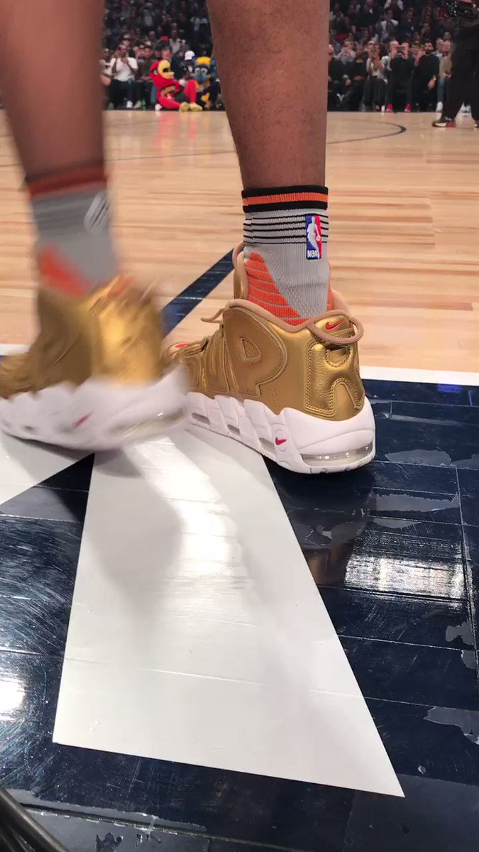 4c413dad3c up close with the supreme x nike uptempo gold debuted by derrick jones jr  in the