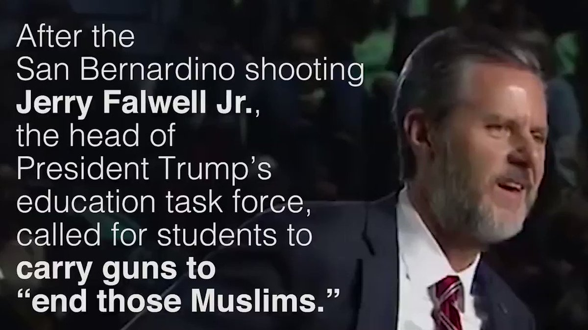Trump is speaking at Jerry Falwell Jr.'s Liberty University today. Here's Falwell inciting violence against Muslims: https://t.co/wg8KNWXgPX