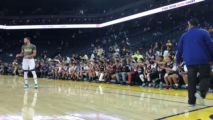 "Ah, so this is what it\s like to be Stephen Curry. ""Happy birthday\"" sang to him by dozens of young fans."