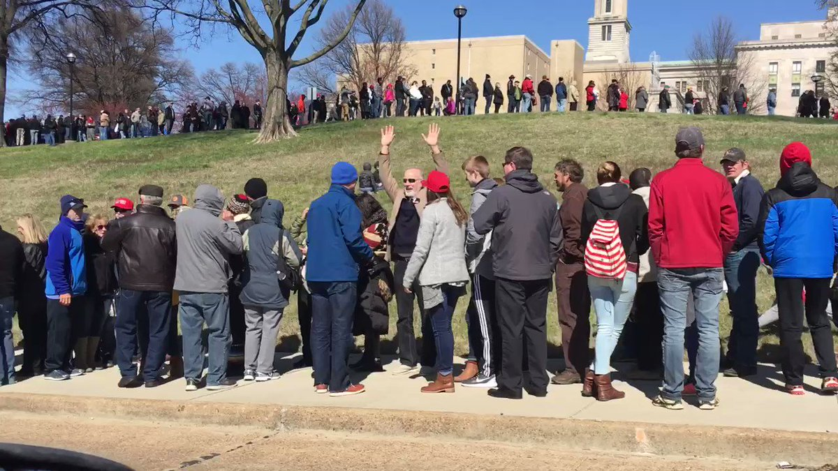 RIGHT NOW: A look at the line to get into @realDonaldTrump's rally in #Nashville