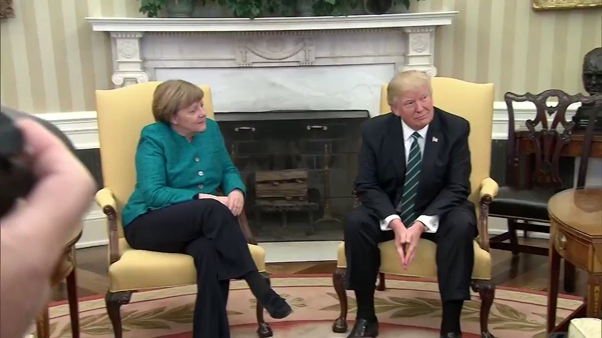 "Merkel asks Trump: ""Do you want to have a handshake?"" The U.S. president did not respond. https://t.co/dgLHkN1H7o"
