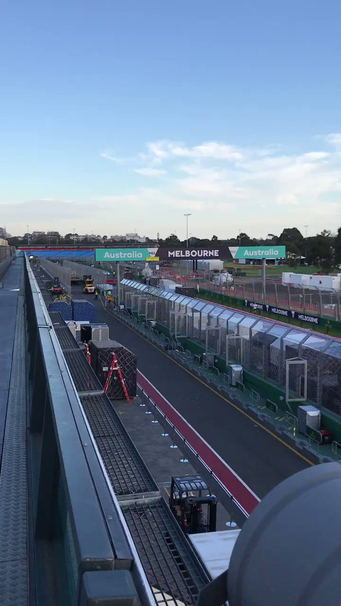 Day 1 of the #AusGPWeek comes to an end with an amazing sunset over Melbourne and the AusGP track.