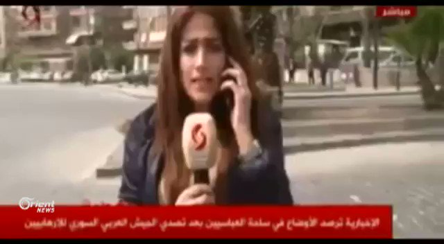 #Syria pro-government TV: nothing going on in #Damascus. Then a rocket flies over