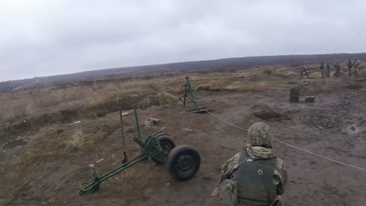 Ukraine: American 45th Infantry Brigade Combat Team observes and mentors Ukrainian Mortarmen during live-firing exercise.