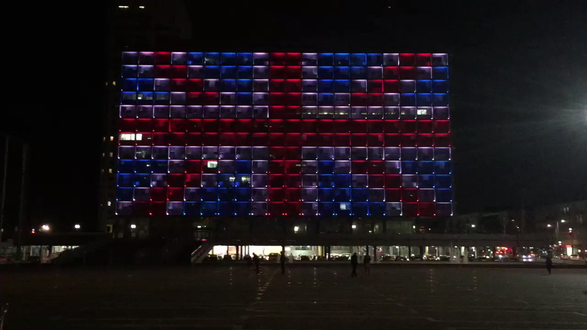 Tel Aviv's City Hall lit up in solidarity with #London. Israelis have...
