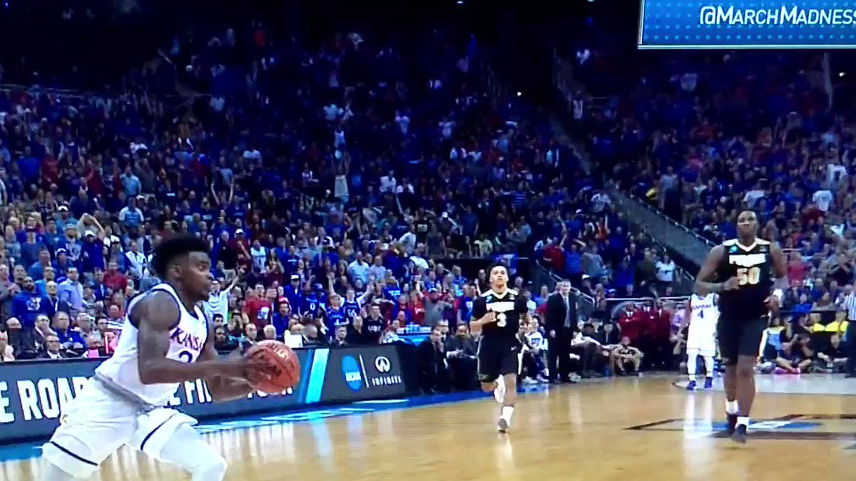 LaGerald Vick's 360 slam might be the dunk of the tournament. #kansas...