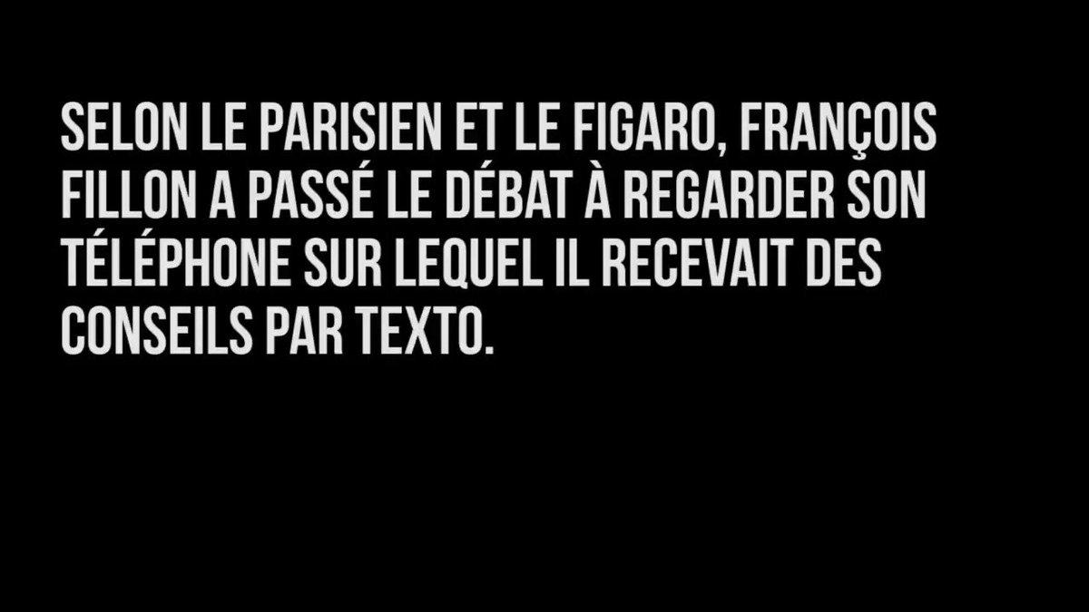 François Fillon dément avoir utilisé son téléphone pendant le débat. Hum hum.