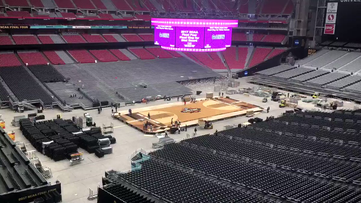 #FinalFour court is being installed today! Only a week out! https://t....