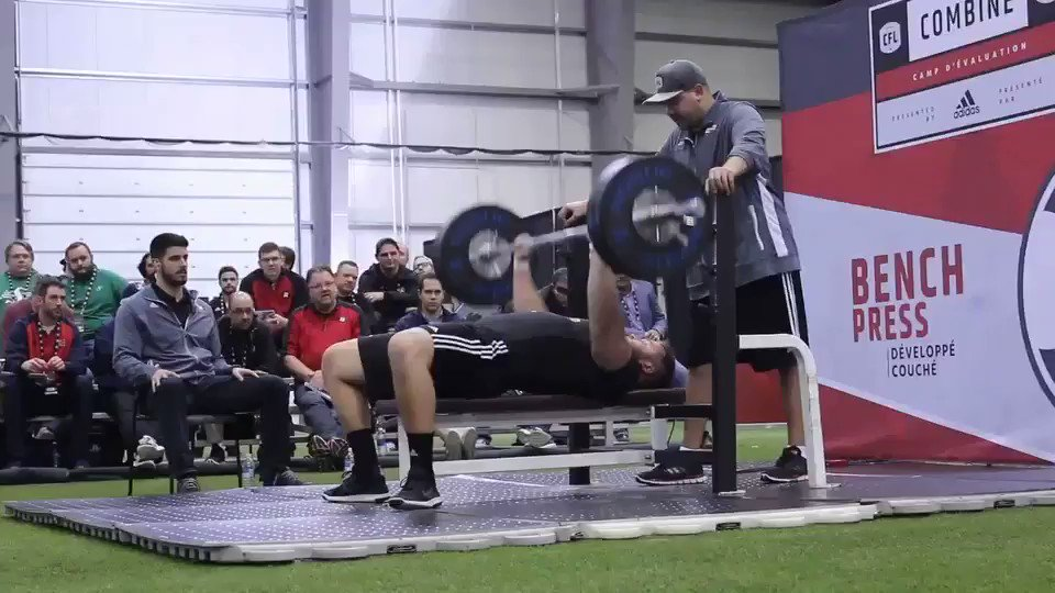 The top Bench Press from the #CFLCombine is Jean Simon-Roy from @rouge...