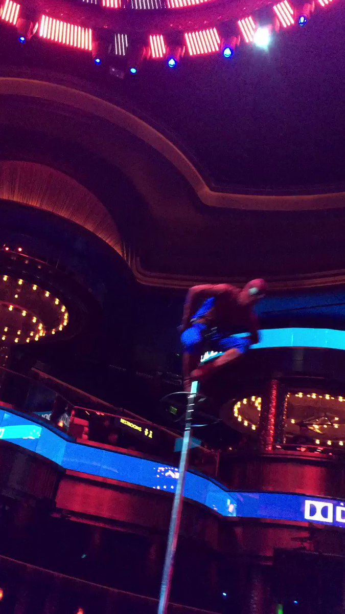 Spider-Man is getting his swing on at the opening night Sony party #Ci...
