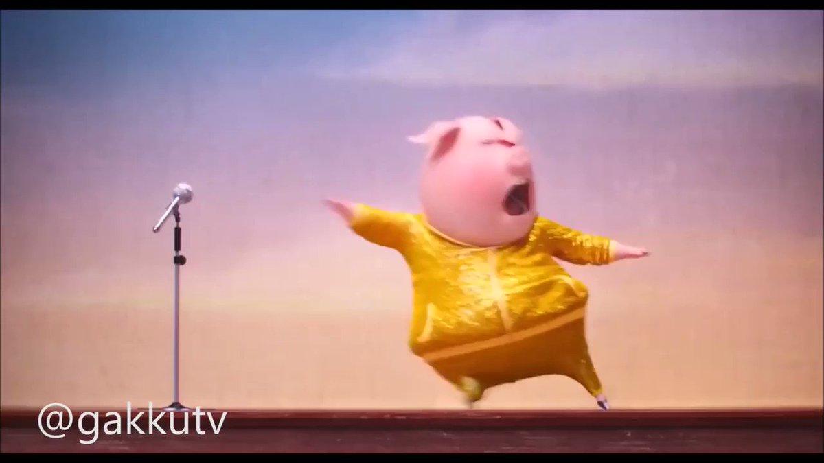 Открытки, гифка новогодняя свинка