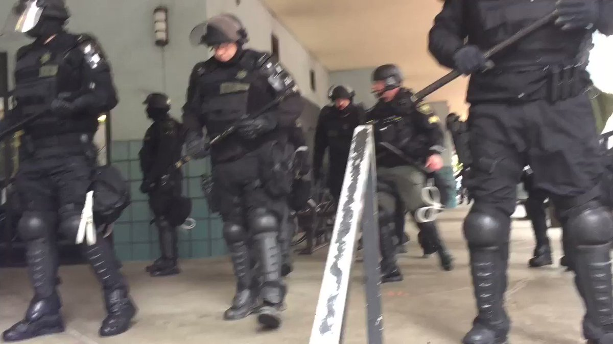 Portland police have blocked the portico of the Portland Building near...
