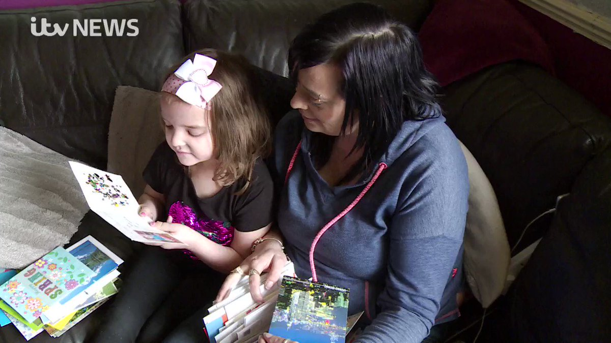 Young girl with terminal brain cancer receives over 1,000 cards after...