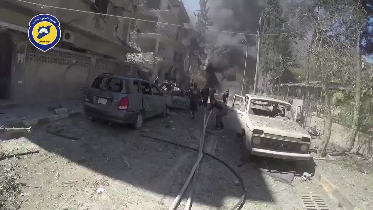 Extinguish fire by @SyriaCivilDef because of an airstrikes which was targeted Douma, Damascus countryside