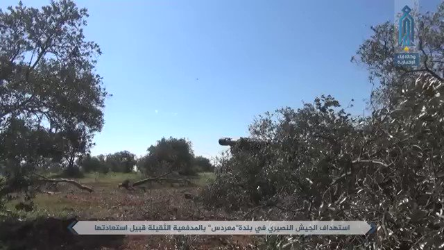 Hay'at Tahrir al-Sham preemptive shelling on Maardes before its takeover. Assault with BMPs and again a T-90, northern Hama, Syria.