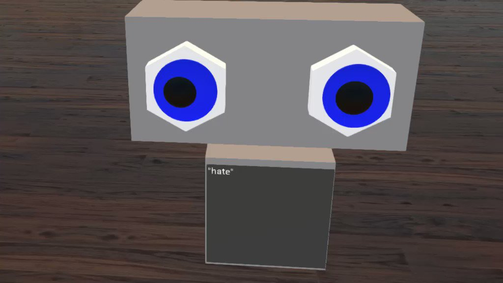 Made a tiny robot with primitives and some speech to text support in @HighFidelityInc! #VR