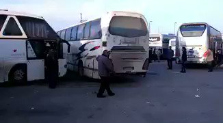 Fuah/Kefraya - Zabadani/Madaya - Yarmouk agreement still on track after today's massacre. Several buses from Aleppo heading to Rashidin, Syria.