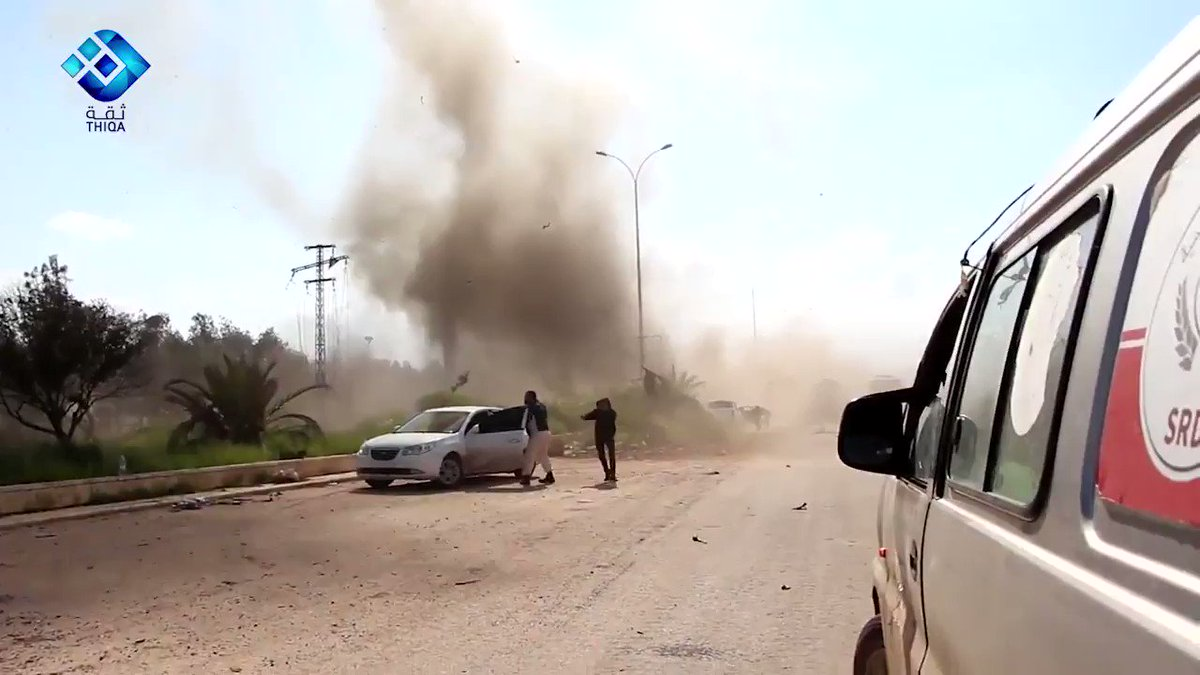 .@thiqanewsagency: Footage seconds after the Rashidin blast. Harrowing screams of women and children in the background as blaze ravages the scene.