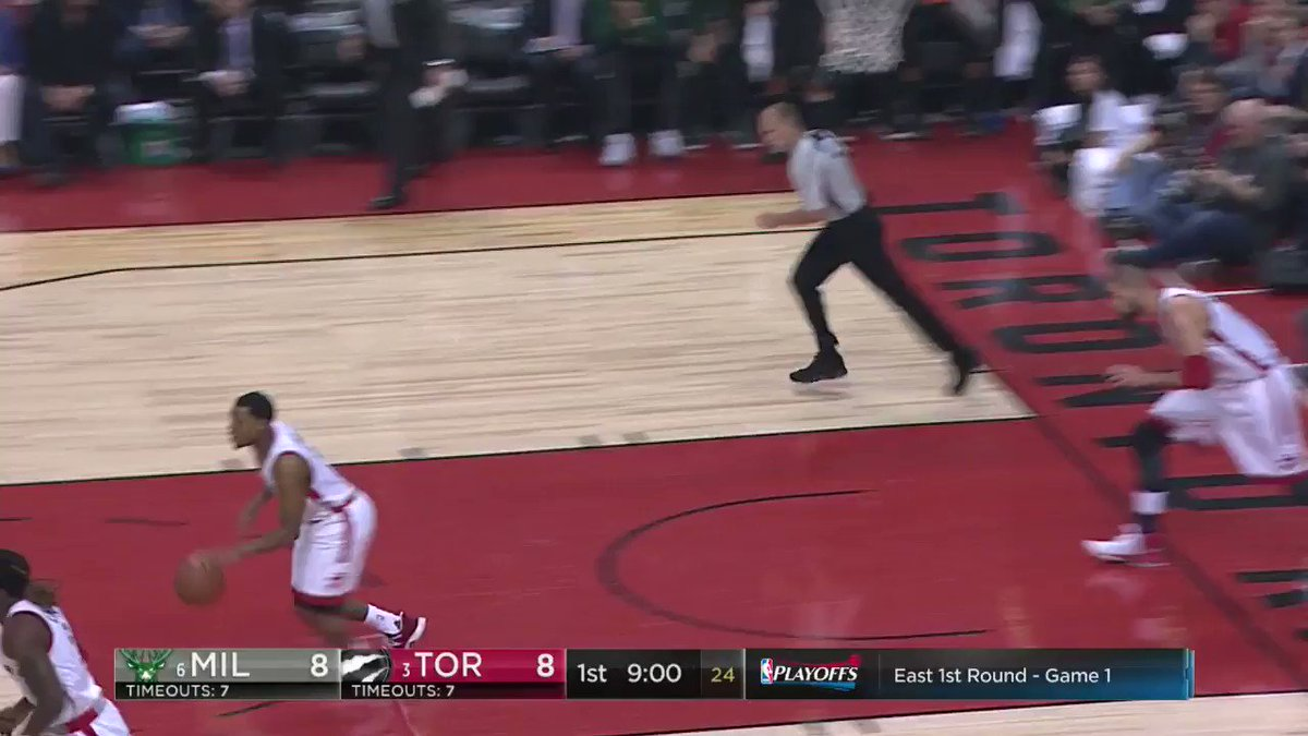Kyle Lowry takes the contact and gets the runner to drop!  #NBAPlayoff...