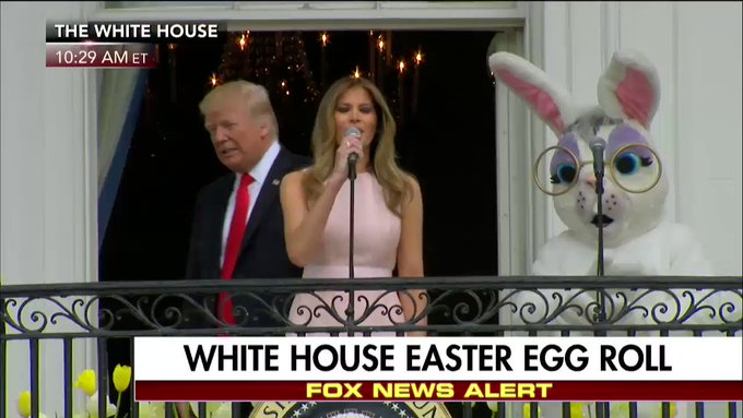 .@FLOTUS Melania #Trump thanks the military during the #EasterEggRoll at the White House.
