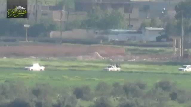 Footage: Jaysh al-Izza destroyed with a TOW a pickup full of pro-government forces, striking a convoy near Majdal, northern Hama, Syria.
