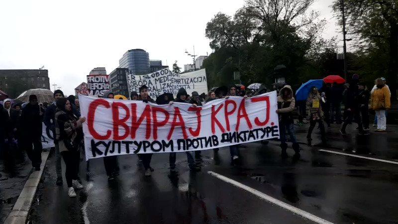 Protest against dictatorship in Belgrade today