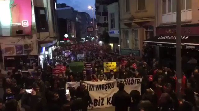 Thousands protest outcome of #TurkeyReferendum due to fraud tonight in Istanbul.
