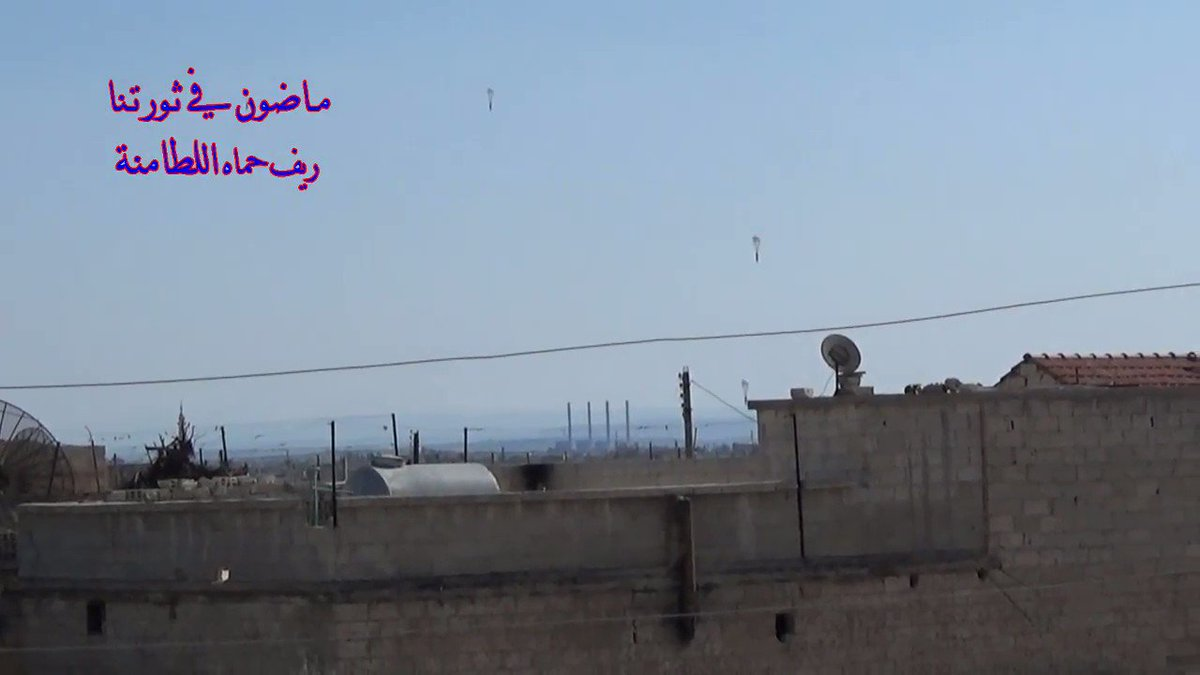 North Hama: 4 more ODABs dropped by RuAF on Al-Lataminah (1 detonated in air by first blast). 80+ thermobaric bombs hit same town last 6 days