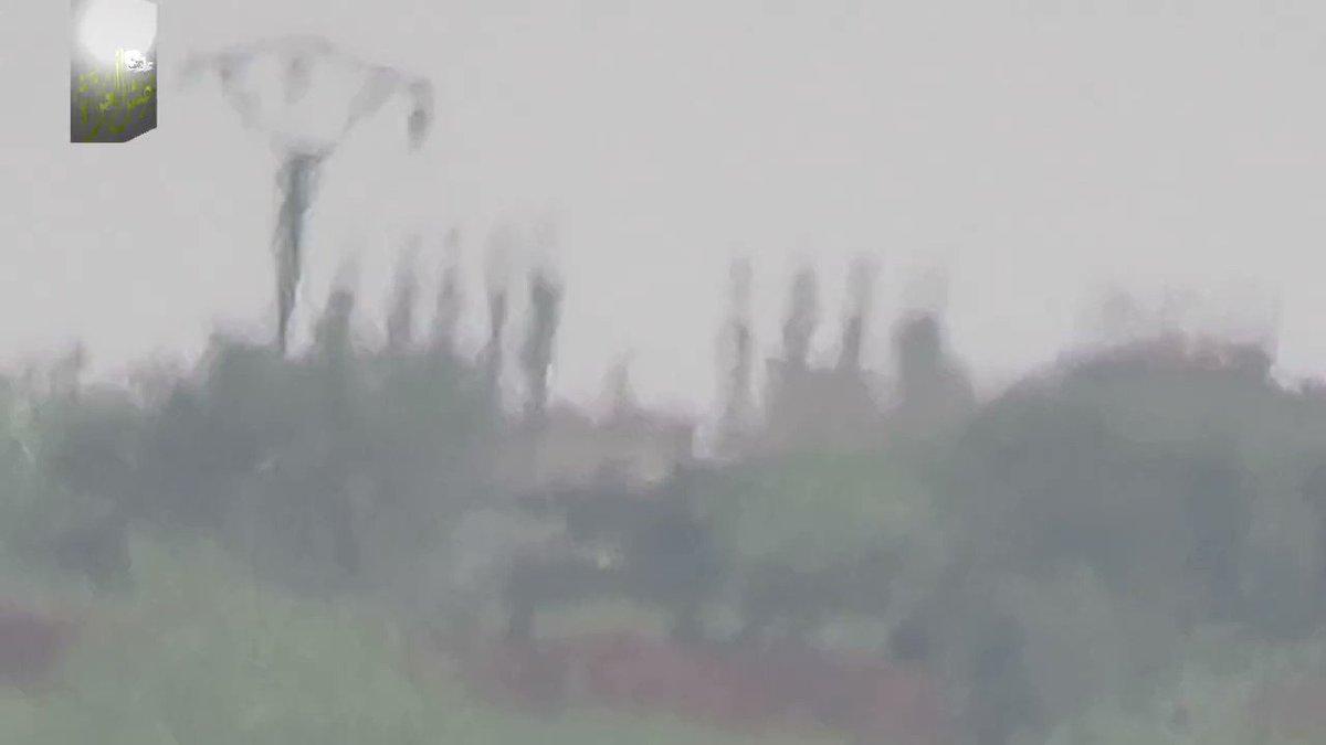 Hama Battle: Jaish Al-Izza TOW strike vs 57 mm cannon on Taybat Al-Imam front.