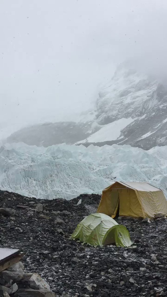 Snow at Everest Basecamp this afternoon. Hoping it clears for a run to camp 1 and 2 in the am!! @Bremont @jottnar @Team_BMC