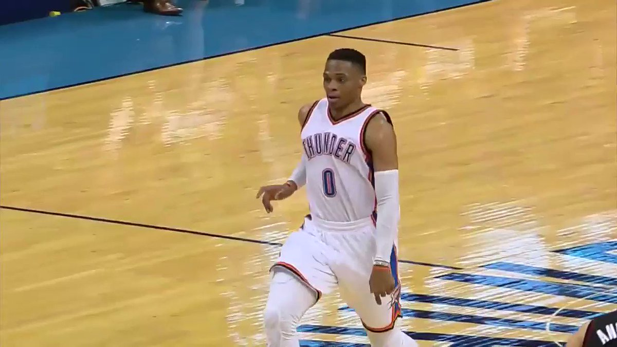 Russ glides in. Thunder leads by 3 with 3:35 left. Don't miss the rest...