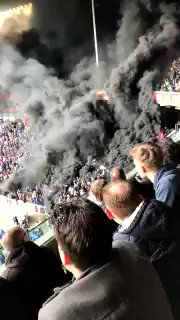 Ridiculous scenes at PSV v Ajax.. Looks like a volcano's erupted 🌋  🎥...