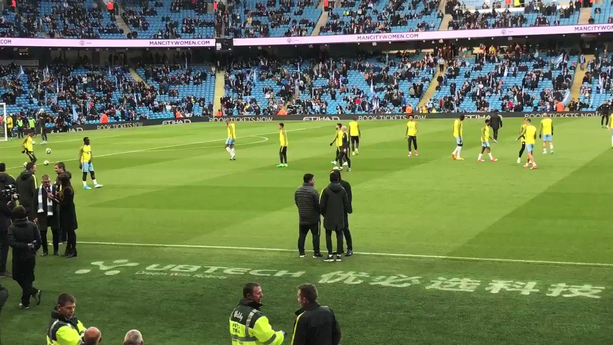 Aguero's rivalry with Gabriel Jesus bubbles over in the warm-up 😃 http...