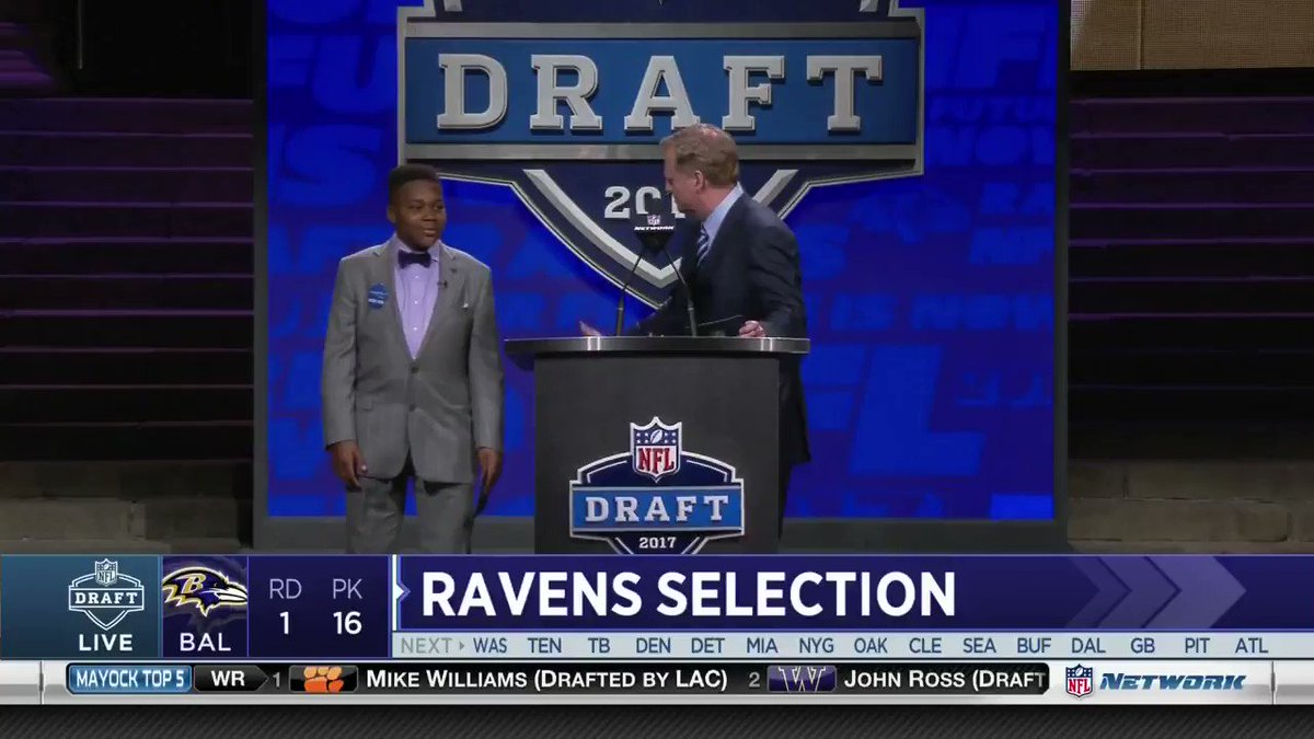 Make-A-Wish kid T.J. Onwuanibe announces the Ravens' pick https://t.co...