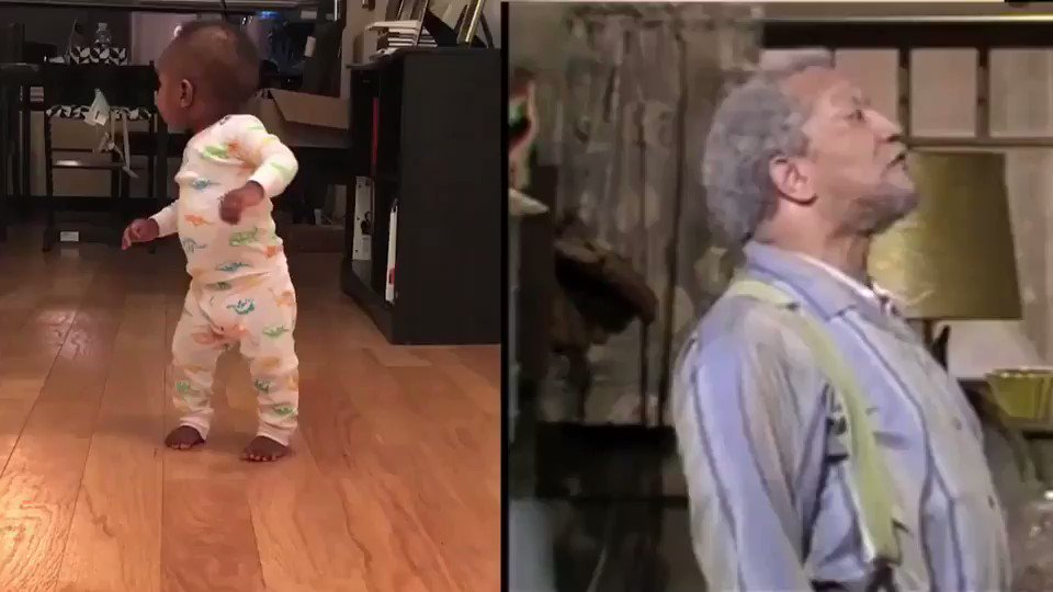 My son walks like Fred Sanford & I can't stop laughing #OldBabyMan https://t.co/SSyrWLHCvO