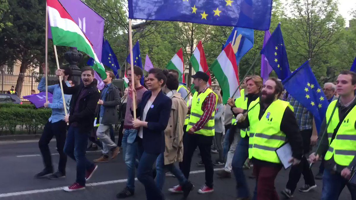 Thousands marching for democracy and against Orban government in Budapest Hungary