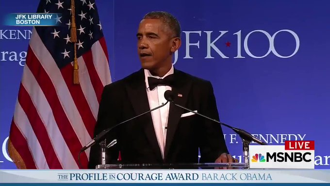 NOW: President Obama accepts the John F. Kennedy Profile in Courage Award. Watch live on @MSNBC.