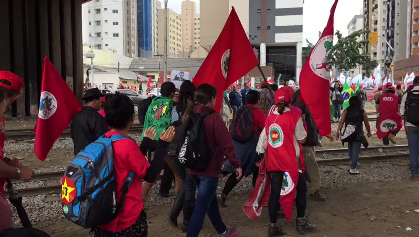 The crowds in Curitiba are marching and chanting Lula, warrior of the Brazilian people
