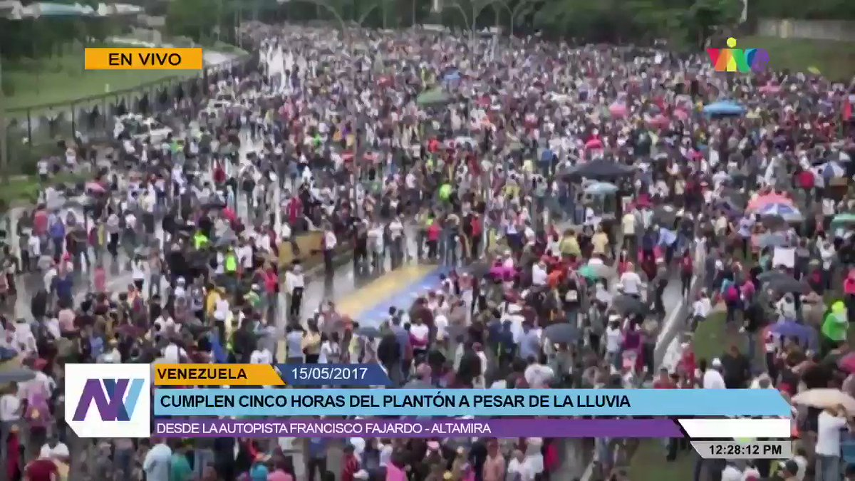 Anti-government rally in Caracas just now