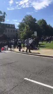 Washington DC: Mob gathered by Turkish Embassy outside the White House attacks mainly Kurdish group protesting Erdogan during Trump meeting.