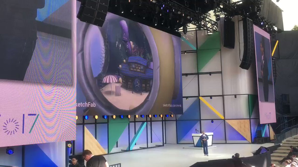 Fabulous feature of @Sketchfab at the mobile keynote on main stage at #IO17, thanks @rahulrc! #WebVR https://t.co/4itXhoG1xR