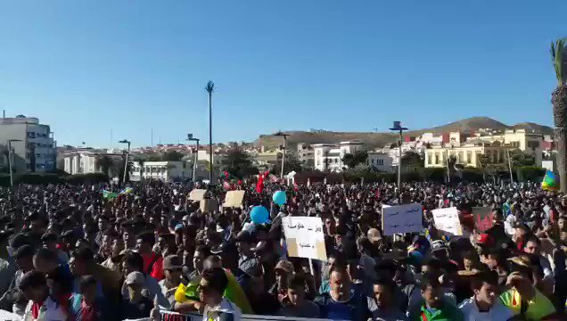 Morocco: video of the major protest in Hoceima today against militarization of the Rif and increasing hostility by the government
