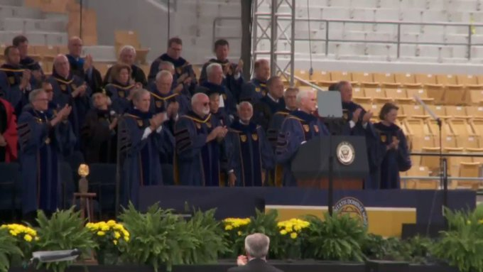 A large group of students just walked out of Notre Dame's commencement during VP Mike Pence's address. #ND2017