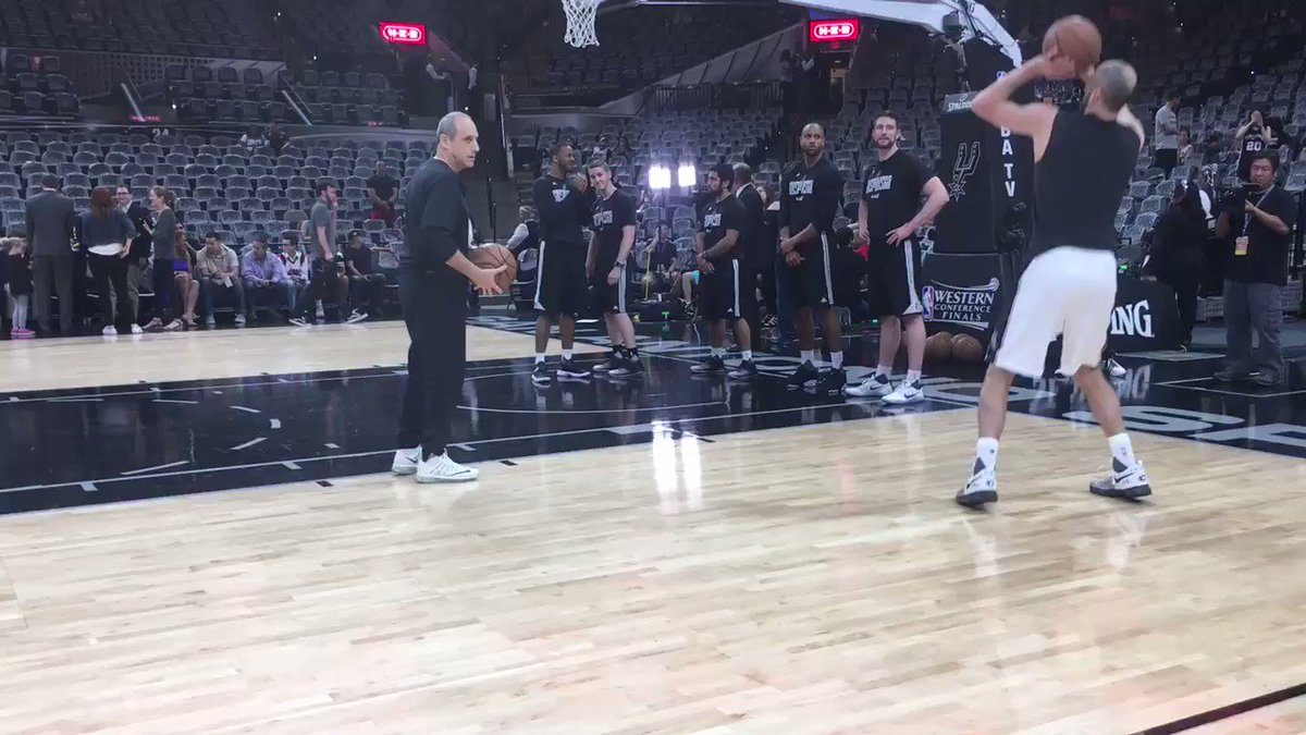 Manu Ginobili warming up.... Don't be surprised if #Spurs start him to...